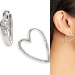 Ansley Heart Small Hoop Earrings In Silver